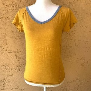 We The Free People Contrast V-Neck Ringer Tee